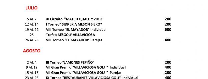 Calendario Julio Y Agosto 2020.Calendario De Competiciones 2019 2020 Villaviciosa Golf